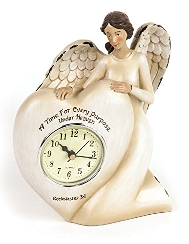 Manual A Time For Every Purpose Under Heaven Angel Mantel Desk Clock RMTEAH 6Wx2.5Dx7.25″T Ivory