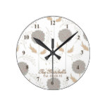 Lovely Brown  and Gray Flower printl Round Clock