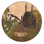 Primitive clock with saltbox house