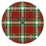 Red Green White Cool Red Lumberjack Plaid Pattern Large Clock
