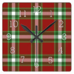Red Green White Cool Red Lumberjack Plaid Pattern Square Wall Clock