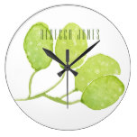 TROPICAL GREEN WATERCOLOUR FOLIAGE LEAF  MONOGRAM LARGE CLOCK