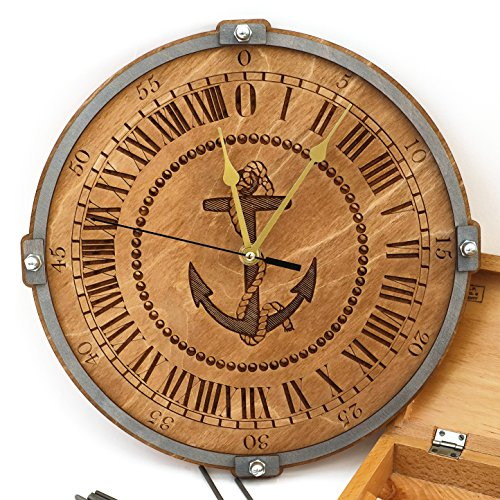 Anchor handcrafted wooden 24 hour wall clock, nautical home decor, rustic wall clocks, lake house decor, housewarming gift