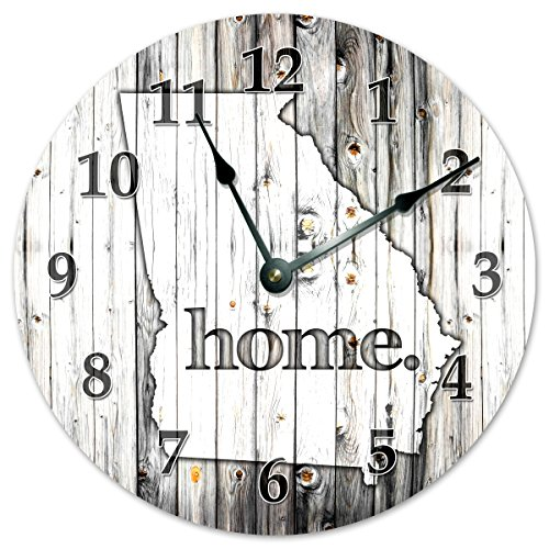 GEORGIA STATE HOME CLOCK Black and White Rustic Clock – Large 10.5″ Wall Clock