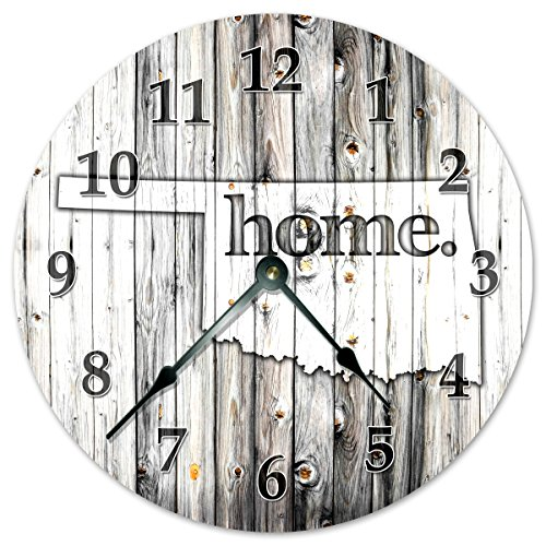 OKLAHOMA STATE HOME CLOCK Black and White Rustic Clock – Large 10.5″ Wall Clock