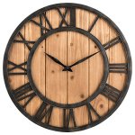 OLDTOWN Farmhouse Rustic Barn Metal & Solid Wood Noiseless Big Oversized Wall Clock (Large 18-inch)