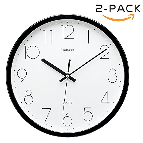 Plumeet 12-Inch Non-Ticking Silent Wall Clock with Modern and Classic Design for Living Room Large Kitchen Wall Clock Battery Operated (Black)(2 Pack)