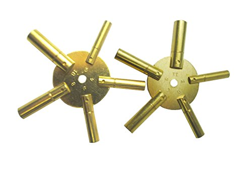 2 Piece Clock Winding Key set – 5 Way, Original Brass, Odd / Even Number from Brass Blessing