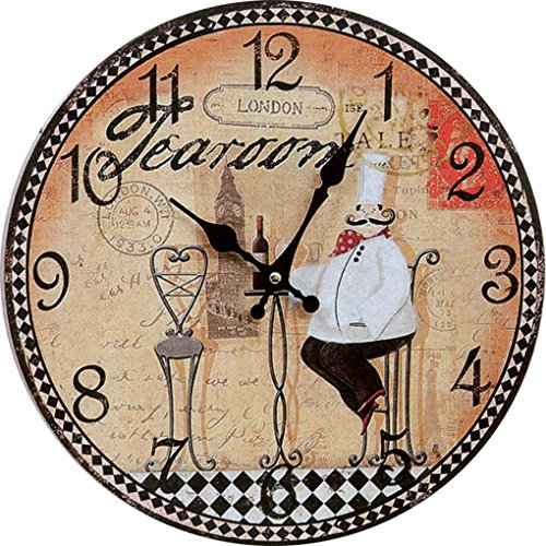 Cloud Clock A Chef In A Chair Drinking Red Wine Quartz Round Wall Clock Red White Black Postmark Peach Heart Pointer Arabic Numerals 12 Inch 30Cm