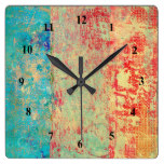 Abstract Art Texture Painting Turquoise Red Green Square Wall Clock