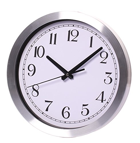 Maywhen Indoor/Outdoor Decorative Silent Non Ticking White Modern Round Wall Clock Metal 12 Inches