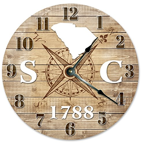 SOUTH CAROLINA CLOCK Established in 1788 Decorative Round Wall Clock Home Decor Large 10.5″ COMPASS MAP RUSTIC STATE CLOCK Printed Wood Image