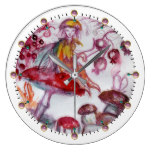 MAGIC FOLLET OF MUSHROOMS Whire Red Floral Fantasy Large Clock