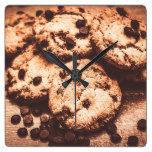 Rustic kitchen cookie art square wall clock