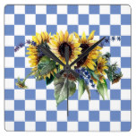 Sunflower Bouquet on Blue Checks Square Wall Clock