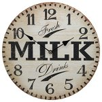 13″ Wall Clock with Kitchen Art Fresh Milk Drinks Rustic Prints