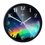 Color Map 12-Inch Large Modern Colorful Stylish Elegant Silent Non-ticking Home Kitchen/Living Room Wall Clock (Colorful Sky, Black)