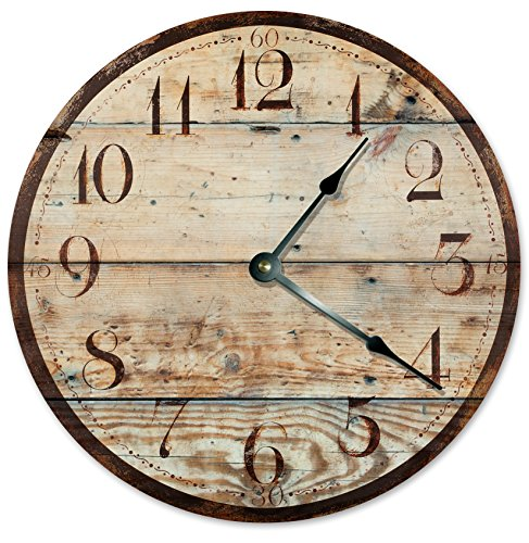 Large 10.5″ Wall Clock Decorative Round Wall Clock Home Decor Novelty Clock RUSTIC 4