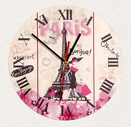 SofiClock Wall Wood Clock Paris France Eiffel tower 12″ Best Gift for Decor Home, Office, Kitchen (Type B)