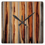 Wood Fence Texture Cool Unique Square Wall Clock