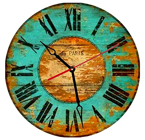 SofiClock 12″ Vintage Wall Clock With Roman Numerals, Best Wooden Decor