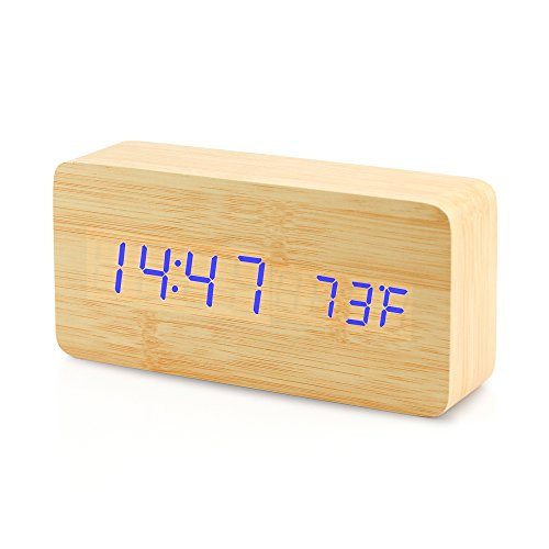 Oct17 Digital LED Wooden Desk Clock Alarm Snooze Voice Control Timer Thermometer – Bamboo
