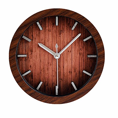 Retro Europe Style Wood Pattern Silent Non-ticking Desk Wall Clock Vintage Alarm Clocks Table Desk Clocks Desktop Clock Brown
