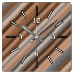 Blurry Rustic Inspired Stripes Pattern Square Wall Clock