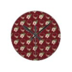 Red Rustic Poinsettias & Hearts Round Clock