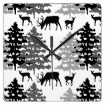 Woodland Animals Rustic Deer Winter Forest Trees Square Wall Clock