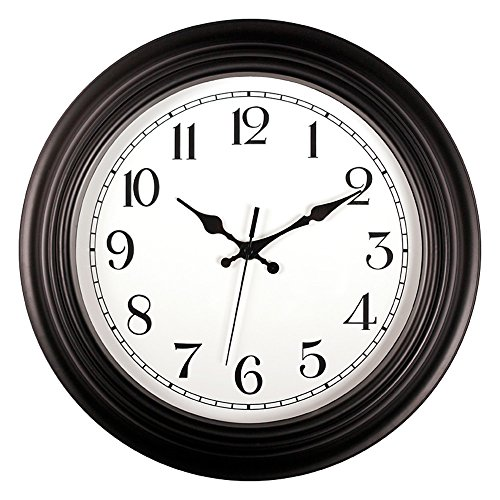 Love_Home Silent Non-ticking RoundWall Clocks (14-Inches) Decorative Vintage Style,Home Kitchen/Living Room/ Bedroom (Black)