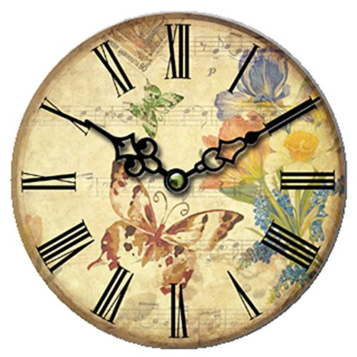 Cloud Clock The Butterfly Retro Round Wooden Wall Clock Flower Brown Blue Orange Yellow Hollow Out Pointer Roman Numerals 16 Inch 40Cm