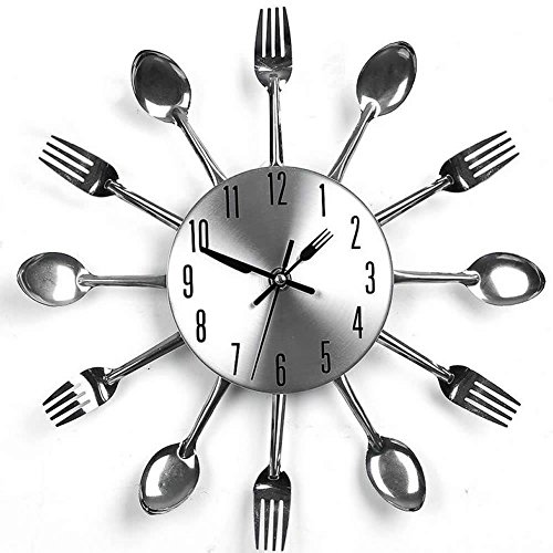 Deboc Retro Style Novelty Spoon Fork Clock Cutlery Kitchen Wall Clock Sliver for Kitchen Room Decor