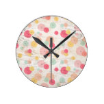 Chic Watercolor Flowers Coral Blush Mint on Wood Round Clock