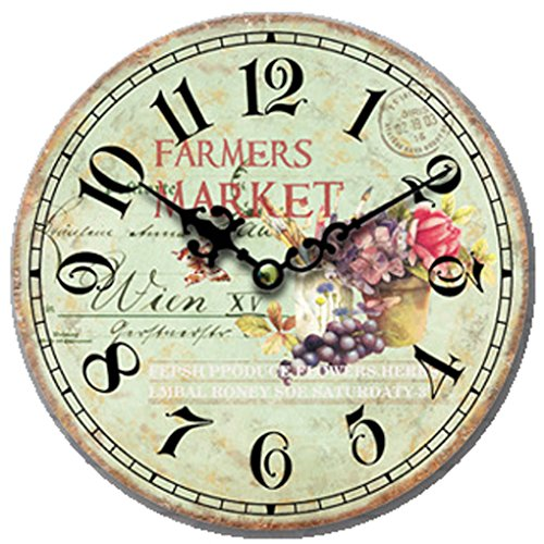 Cloud Clock Flower Retro Round Wall Clock Grape Pink Yellow Purple Postmark Hollow Out Pointer Arabic Numerals 16 Inch 40Cm