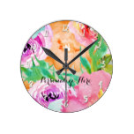 Modern Bright Colorful Spring Floral Watercolor Round Clock