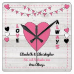 Personalized names Rustic Wedding Pink and Black Square Wall Clock