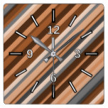 Rustic, Earthy Brown, Beige and Grey Stripes Square Wall Clock