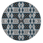 Teal Blue Gray Black Eclectic Ethnic Look Large Clock