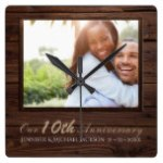 10th Wedding Anniversary PHOTO Personalized Gift Square Wall Clock