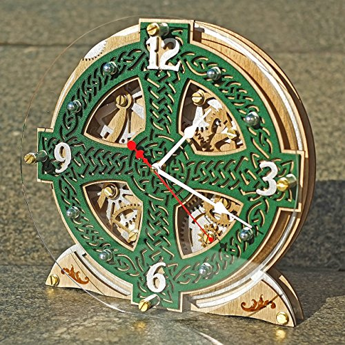 Celtic Cross Knots Automaton wooden table clock, unique clock, personalized gifts, anniversary gift, mantle clock, home decor, desk clock