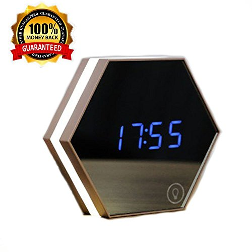 Portable Mirror Alarm Clock Rechargeable Powered Digital Alarm Clock Travel Mirror Table Lamp Clock