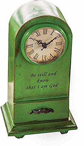 Manual Woodworkers & Weavers 104487 Clock – Be Still And Know – Tabletop – Vintage Green