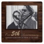 5th Wedding Anniversary PHOTO Gift Rustic Wood Square Wall Clock
