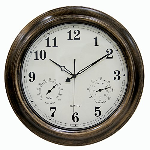 SkyNature 18 Inch Large Decorative Metal Indoor/Outdoor Wall Clock Waterproof with Temperature and Humidity