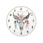 Boho Bohemian Cow Skull Horns Floral Feathers Round Clock