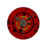 Circular Red Abstract Pattern Round Clock