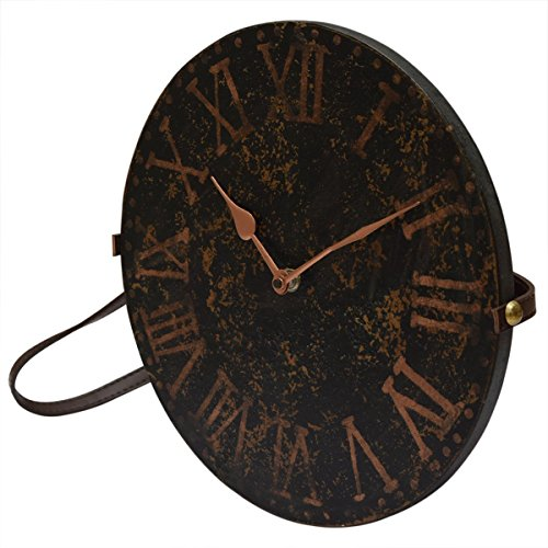 Decorative Round Wooden Wall Clock Bohemian Rustic Country Style Black Brown With Leather Strap 11 Inch Vintage