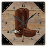 Faux Rustic Wood Background and Cowboy Boots Square Wall Clock