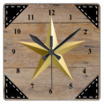 Faux Rustic Wood Background and Gold Star Square Wall Clock
